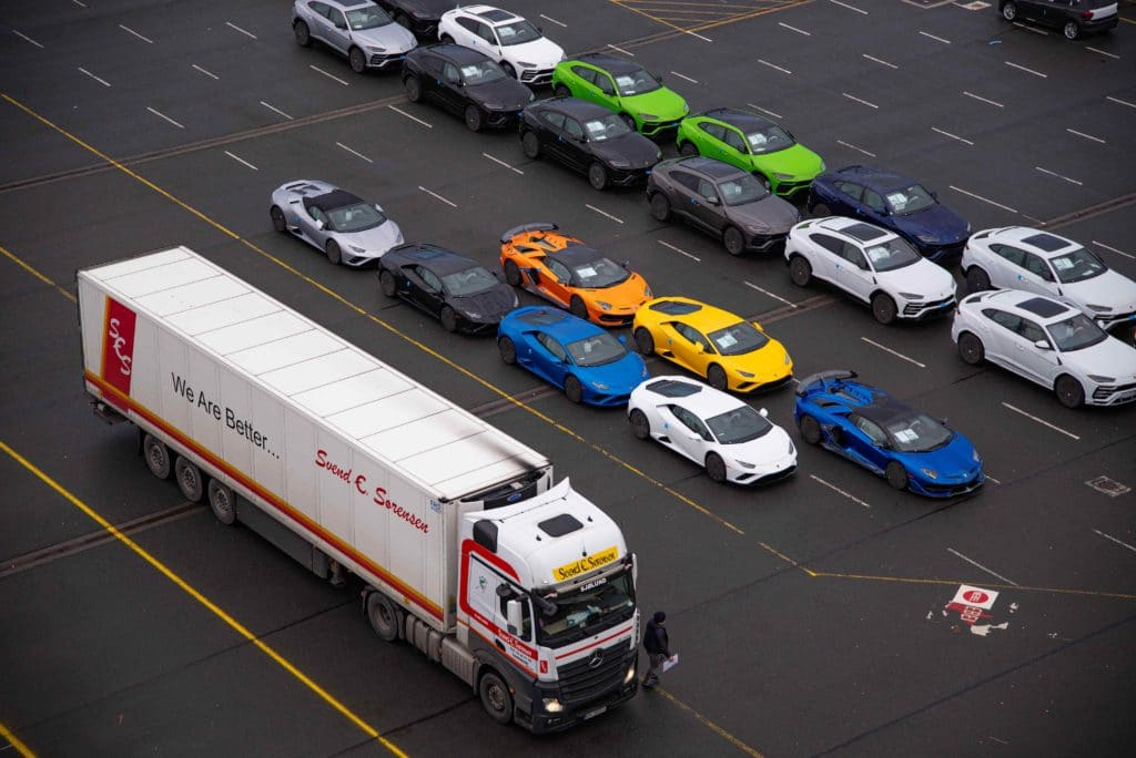 Cars and trucks lined up