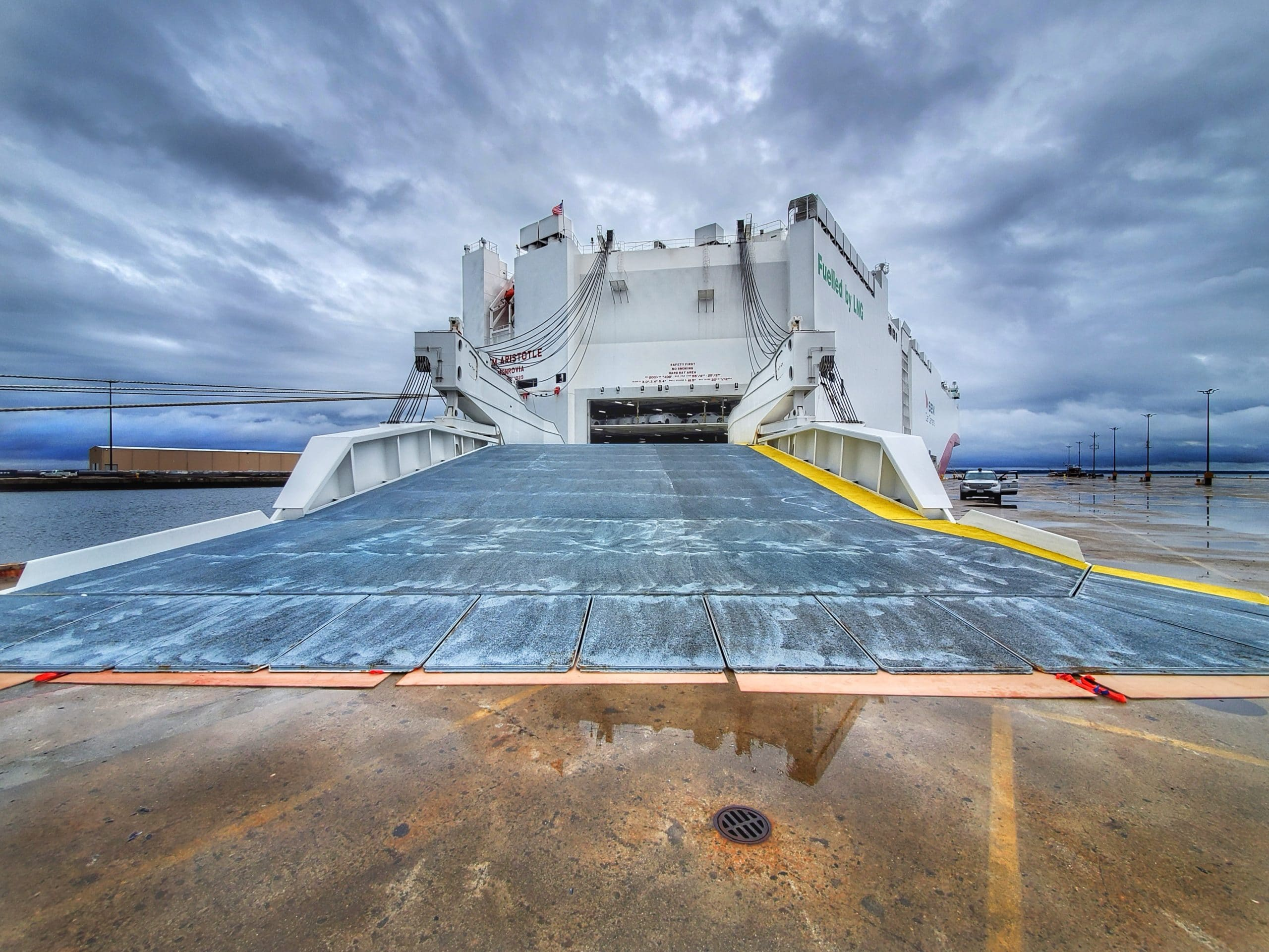 Ship ramp attached to land