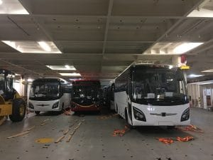 Buses in the cargo of a ship